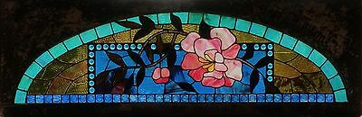 Arched Floral Antique American Stained and Jeweled Glass Transom