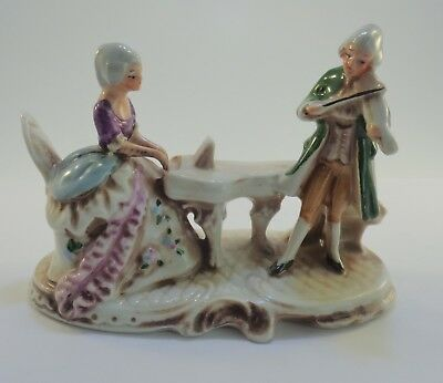 Vintage figurine lady at piano man with violin musicians GDR Graffenthal Germany
