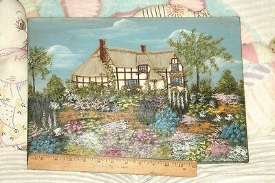 VTG ROMANTIC FRENCH COUNTRY TUDOR COTTAGE FLORAL FLOWER GARDEN PAINTING on WOOD