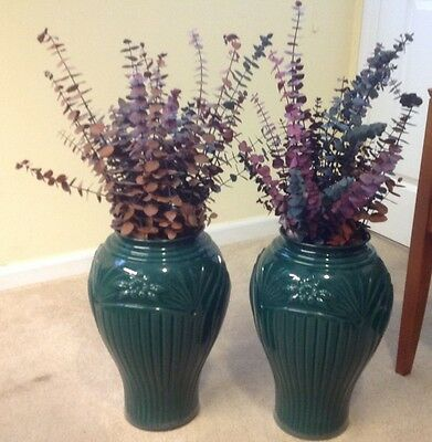 "Matching Pair of Stunning Green 16"" Large Floor Vases - LOCAL NJ PICKUP ONLY"