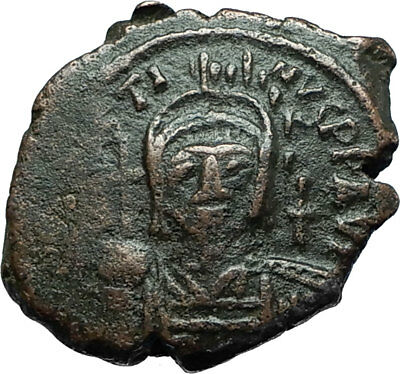 JUSTIN II 565AD Thessalonica RARE Half Follis Ancient Byzantine Coin i66311