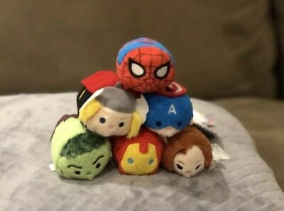 Complete 6 Marvel Avengers Tsum Tsum Disney Store Set with Tags
