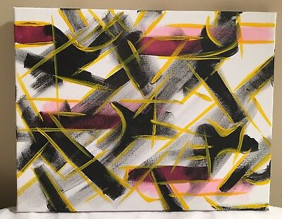 "Original Artwork: ""Black, White, Yellow & Pink"" Abstract Acrylic Painting,11x14"