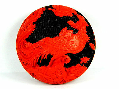 Chinese Carved Red Lacquerware Jewelry Trinket Box Case,Phoenix Pattern