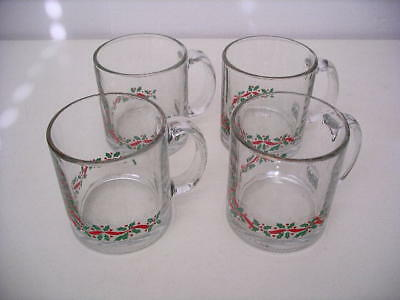 Set of 4 Arby's 1980s Christmas Collection Holly Berry Ribbon Coffee Mugs!