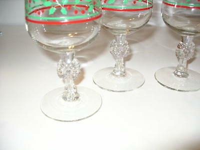 Set of Four Arby's 1980s Holly Berry Bow Stemmed  12 oz Christmas Goblets!