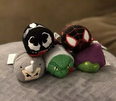 Complete 5 Marvel Ultimate Spider-Man Tsum Tsum Disney Store Set with Tags