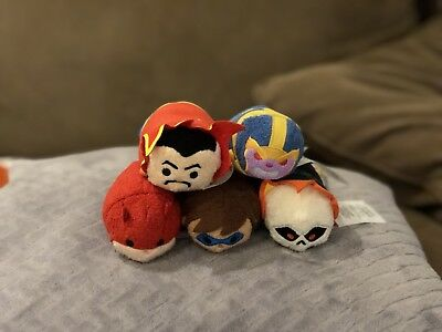 Complete Classic Marvel 5 Tsum Tsum Disney Store Set with Tags With Thanos