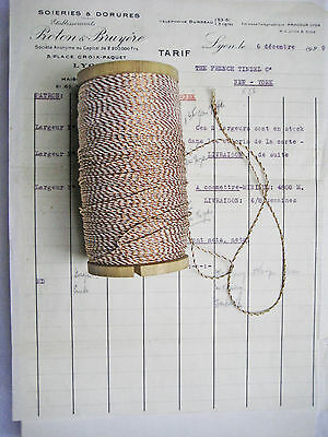 """10 yd Vintage Antique French Metallic Copper/White Cord Rope Bakery Twine 1/16"""""""
