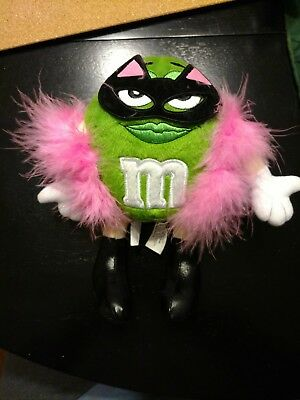 """M&M Plush Ms. Green Character 8.5"""" w/Cat Costume Mask Pink Boa Boots & Tail"""