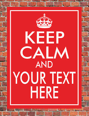 keep calm and carry on custom personalised text metal wall plaque