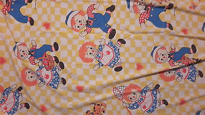 Vintage fabric RAGGEDY ANN and Andy Flat sheet