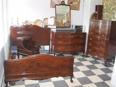 Antique Mahogany Chippendale Bedroom Suite 5 PC Circa 1940's - #00265