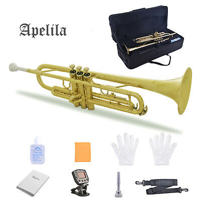 Apelila Bb Trumpet Brass Gold Lacquer Valve Beginner Music Instrument with case