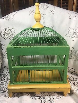 Vintage Antique Wood & Metal Wire Bird Cage & Tray Painted Yellow & Green