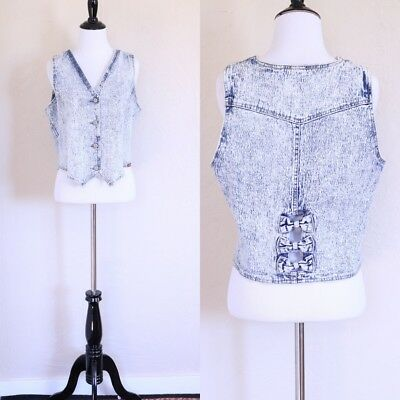 Vtg 80s M Acid Wash Button Up Denim Jean Semi Stretchy Vest with Bow Cut Outs
