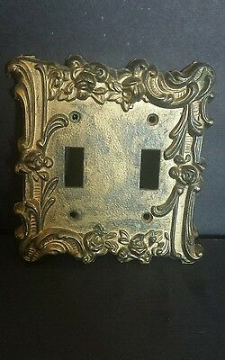 Unique Double Light switch cover  metal heavy gold ornate