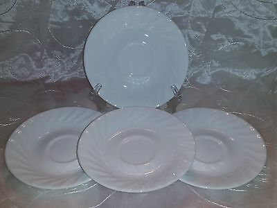 "Corelle Enhancements WHITE SWIRL SAUCERS- Set 4 - 6 1/4"" EUC"
