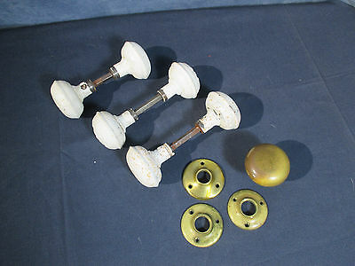 Antique Hardware Door Knobs Brass Metal Painted White Collar 3 Sets Plus Extras