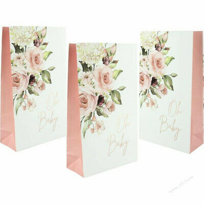 Its A Girl Baby Shower Party Bags Pink And Gold 6Pk Party Lolly Treat Favours