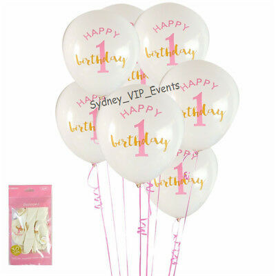 First 1St Birthday Party Gold Pink White Balloons 6Pk Girl Helium Quality Latex
