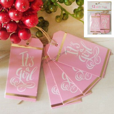 Its A Girl Baby Shower Gift Tags Pink Gold White 12Pk Party Twine Favour Bag