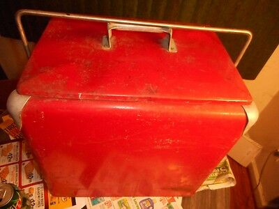 Antique Metal Cooler Vintage LARGE Ice Chest Coke Cooler Coca Cola Stroh's Beer