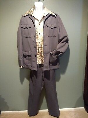 Retro Vtg 1970's 80's Mens GREY Leisure Suit Haband Size 42R with Disco Shirt