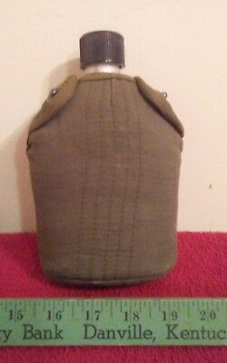 Vintage Japan Metal Green Army Cover Military Canteen Screw Top Japanese
