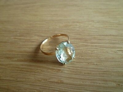 Vintage 14k gold natural aquamarine gemstone cocktail ring size 8, approx. 10 ct