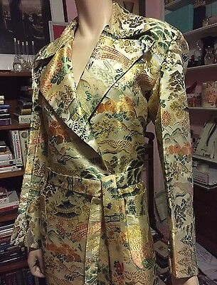 Vintage JAPANESE HEAVY GOLD SILK BROCADE BELTED BATHROBE DUSTER Kimono Lining