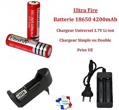 Batterie Pile Accu Rechargeable 18650 4200mAh Chargeur Simple Double Li-ion 3.7V