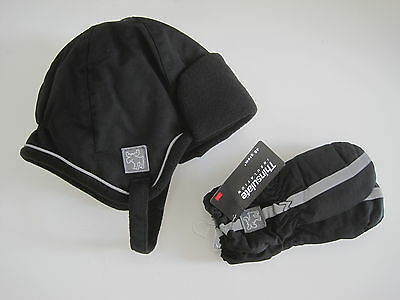 FADED GLORY Boys Hat Mittens 2T 3T 4T 5T Toddler Thinsulate Black LOT of 2 New