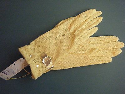 Nos Nwt Vintage 1940's-50's Nylon Stretch Lacey Glove Sunshine Yellow W. Buttons
