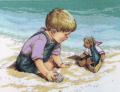 "JANLYNN""SEASHORE FUN""CROSS STITCH KIT  Kreuzstich-Stickpackung 28x33 CM"