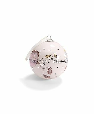 NEW Mamas and Papas My First Christmas Bauble -Hand Painted Glass - PINK