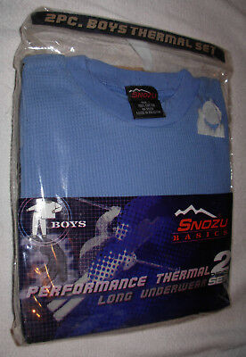 New Set Tight Knit Blue Size 7 Boys Performance Thermal Underwear Long Johns