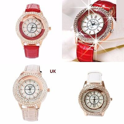 Faux Leather watch WITH MOVING BALLS Crystal Diamond Rhinestone RED WHITE BLACK