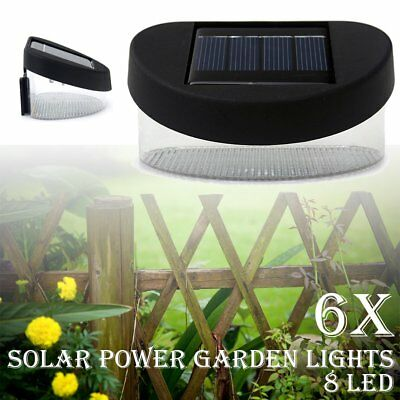 Outdoor Garden Pathway Wall Lights 8 LED Solar Power Fence Gutter Light Lamp  6x