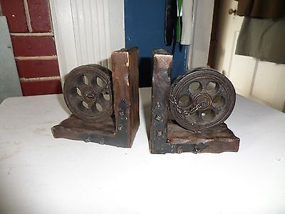 Vintage Solid Wood Wrought Iron Bookends Gothic Medieval Hand Carved