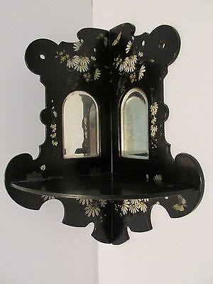 Antique Papier Mache CORNER SHELF Folding Black Lacquer Beveled Mirrors Daisies