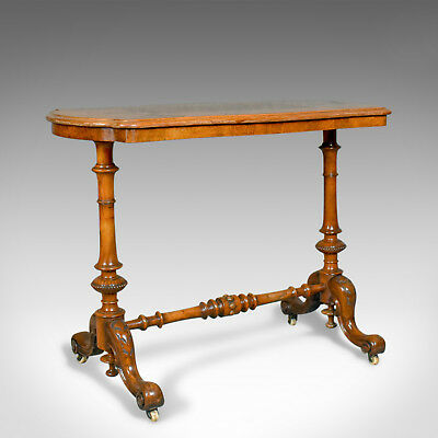 Antique Stretcher Table, Burr Walnut, English, Victorian, Circa 1880