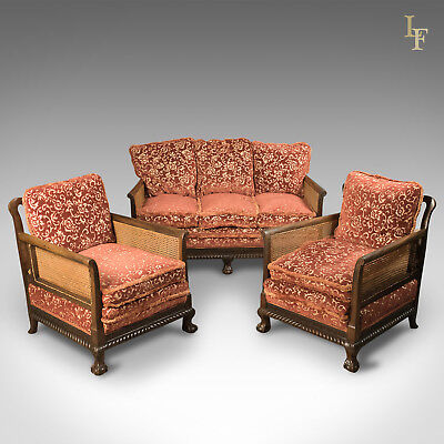 Antique Conservatory Suite, Edwardian, Bergere , Lounge, 3 Piece, English c.1910