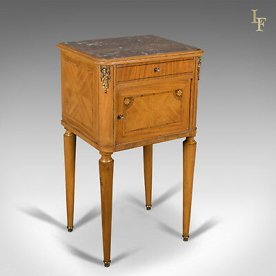 French Antique Bedside Cabinet, Marble Top Nightstand c.1890
