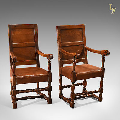 Antique Pair of Panel Back Leather Armchairs, C18th & Later, Hall, English Oak