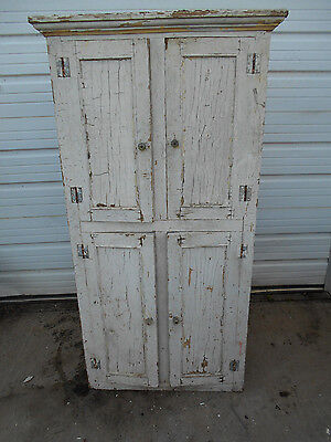 Antique Vintage Built In Cabinet Cupboard Chippy white paint Wood Real PATINA