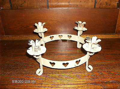 Candle Holder Center Piece Footed Heart Round Chipped Paint Cream Rustic Metal