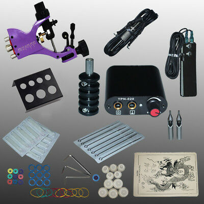 Professional Tattoo Kits 90-264V Complete Equipment 1 Rotory Gun Power Supply