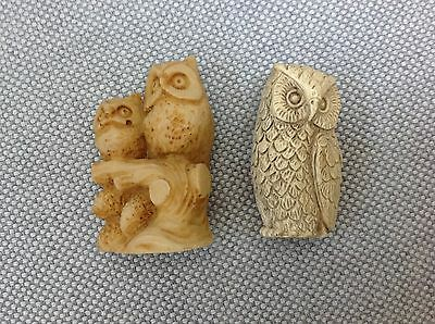 Hand carved bovine bone marble ? figurines set of two owls Italy Mexico