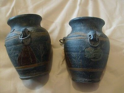 Two Old Stoneware Vases Quite Heavy - Maker Unknown